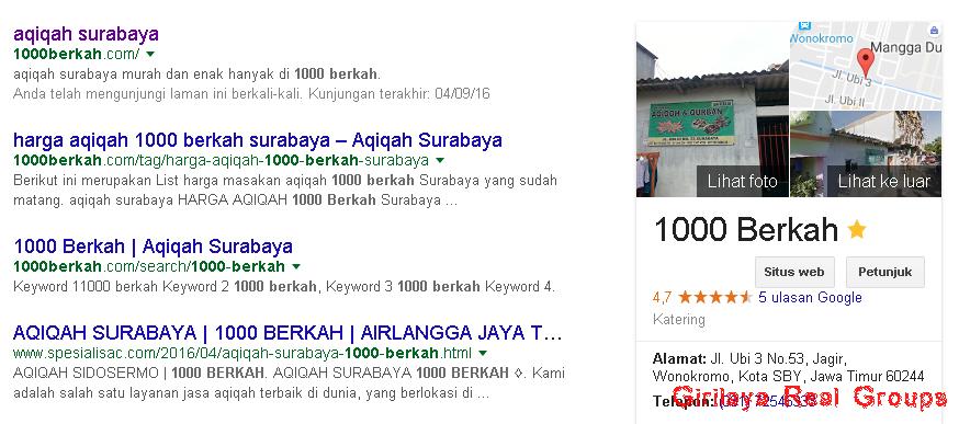 google bisnis aqiqah surabaya 1000 berkah