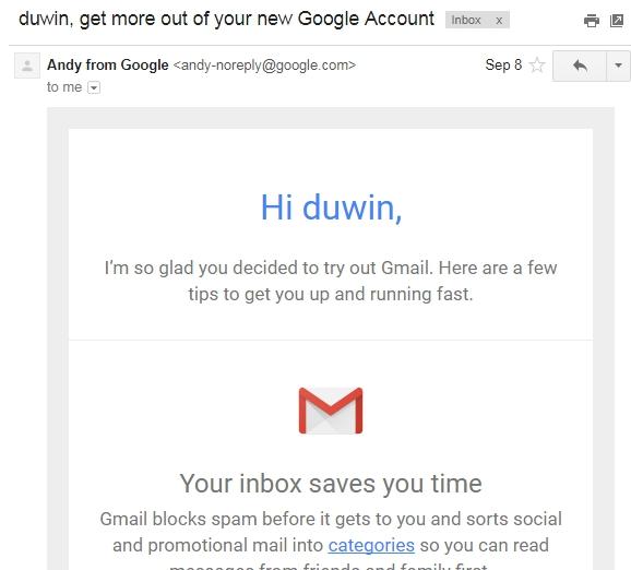 email selamat datang