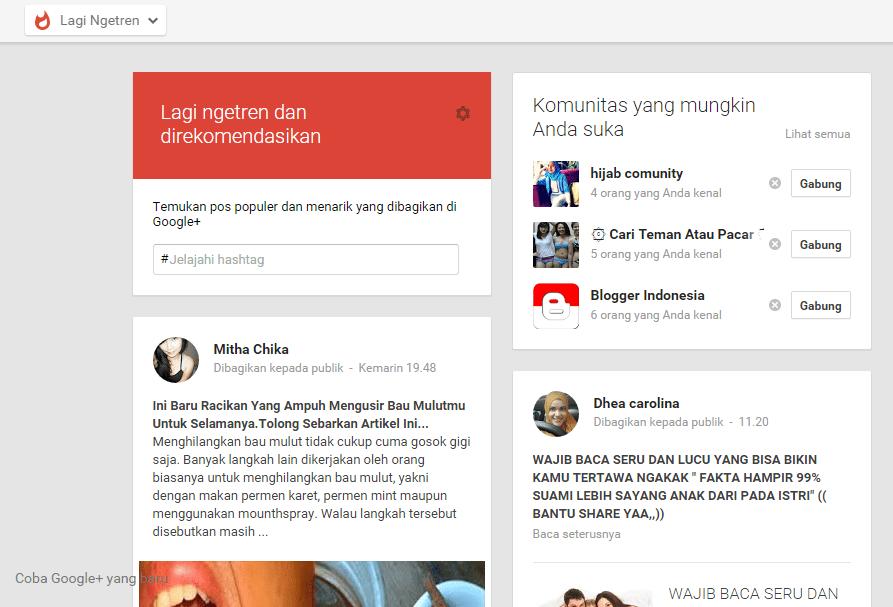 Cara Jitu ngetren dan direkomendasikan di Google Plus