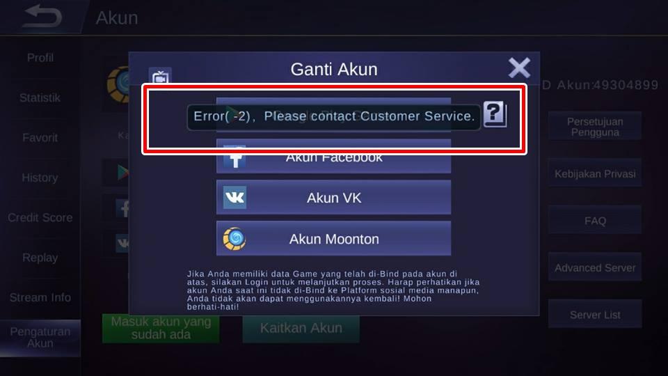 Mobile legends login error